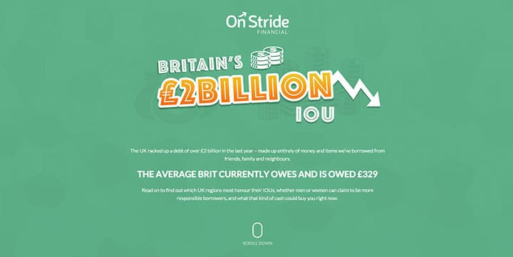 Britain's £2Billion IOU green website color scheme example